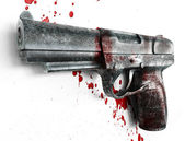 Gun & blood — Stockfoto