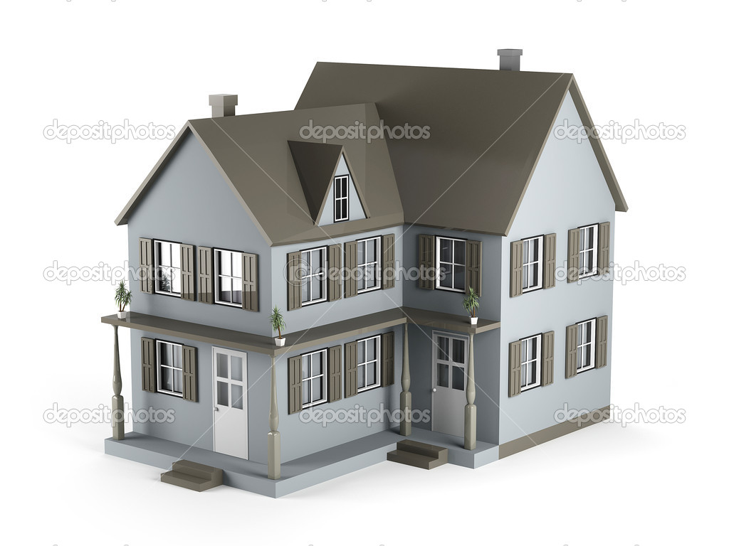 Two-storey house of gray color. 3D Graphics — Stock Photo #5049485