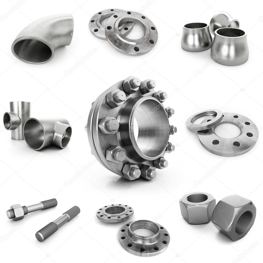 Flanges, nuts, bolts, tubes isolated on white background — Stock Photo #5049493