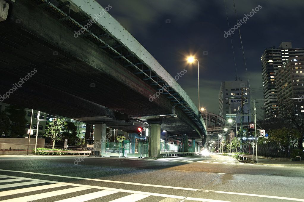 Crossing under the  elevated night  Stock Photo #4734211