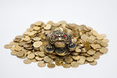 Feng Shui Frog sitting on the heap of coins — Stock Photo