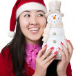 Beautiful Asian girl with snowman — Stock Photo