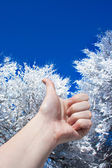 Thumb up in winter — Stockfoto