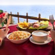 Vegetarian dishes near the ocean — Stock Photo
