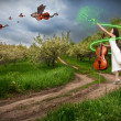 Woman with cello and dragon violins — Stock Photo