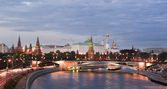 View of Moscow river and Kremlin embankment at the night — Stock Photo