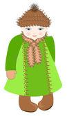 La ragazza dagli occhi azzurri in un soprabito verde — Vettoriale Stock