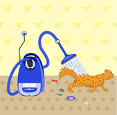 Cleaning of premises by the powerful vacuum cleaner — Stock Vector
