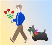The guy with the roses and dog with the camomile go for a birthday — Stock Vector
