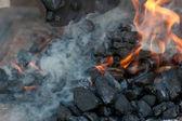 Hot burning embers — Stock Photo