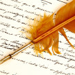 Stock Photo: Letter written by Feather