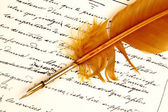 Letter written by Feather — Stock Photo