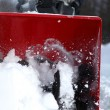 Snow blowing man — Foto Stock