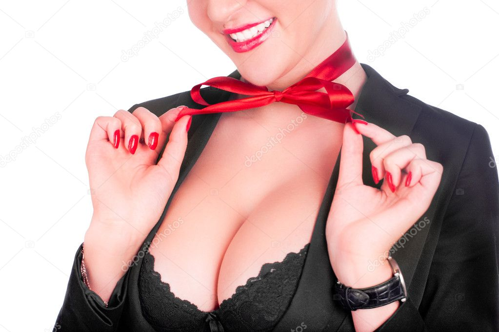 A beautiful sexy gril in a black anderwear with a red bow on her neck (isolated on white) — Foto Stock #4546420