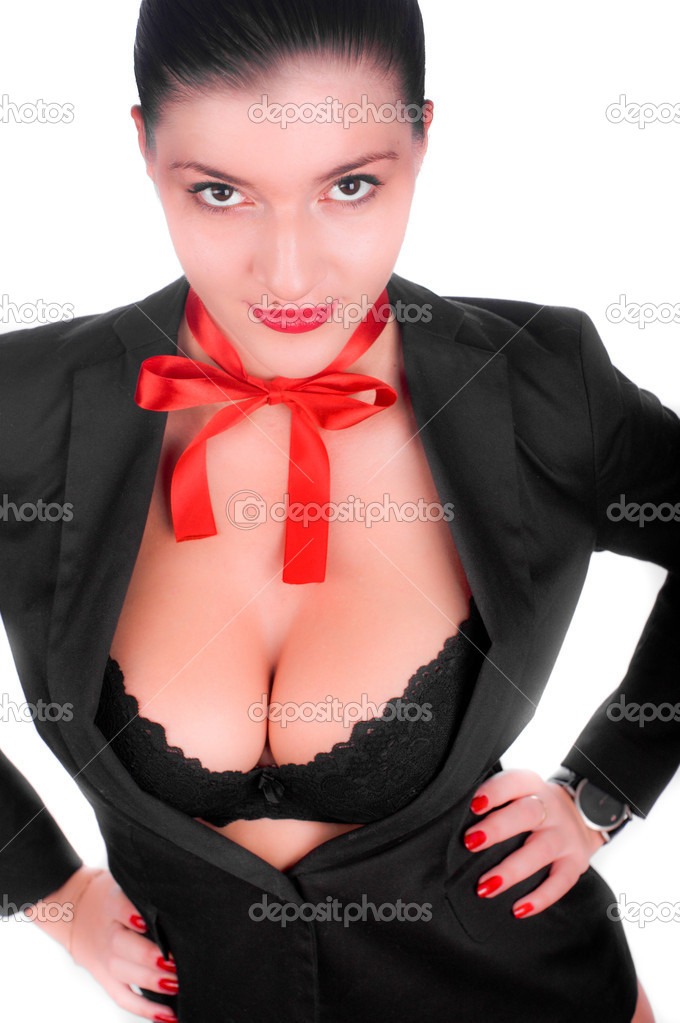 A beautiful sexy gril in a black anderwear with a red bow on her neck (isolated on white) — Stock Photo #4552832