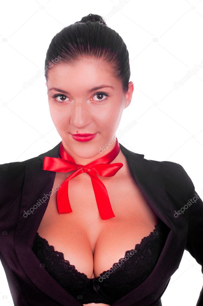 A beautiful sexy gril in a black anderwear with a red bow on her neck ...