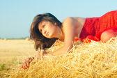 在 landckape 附近的干草堆上的女人 — 图库照片