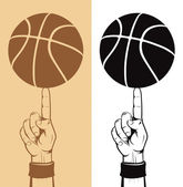 Basketball Ball On The Finger — Stock Vector