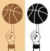 Basketball Ball On The Finger — Stock Vector