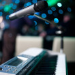 Microphone and piano — Stock Photo