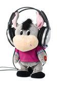 Speelgoed burro met koptelefoon — Stockfoto