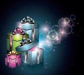 Cajas de regalo mágico — Vector de stock