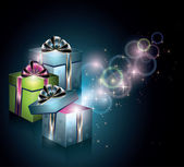 Magical gift boxes — Stock Vector