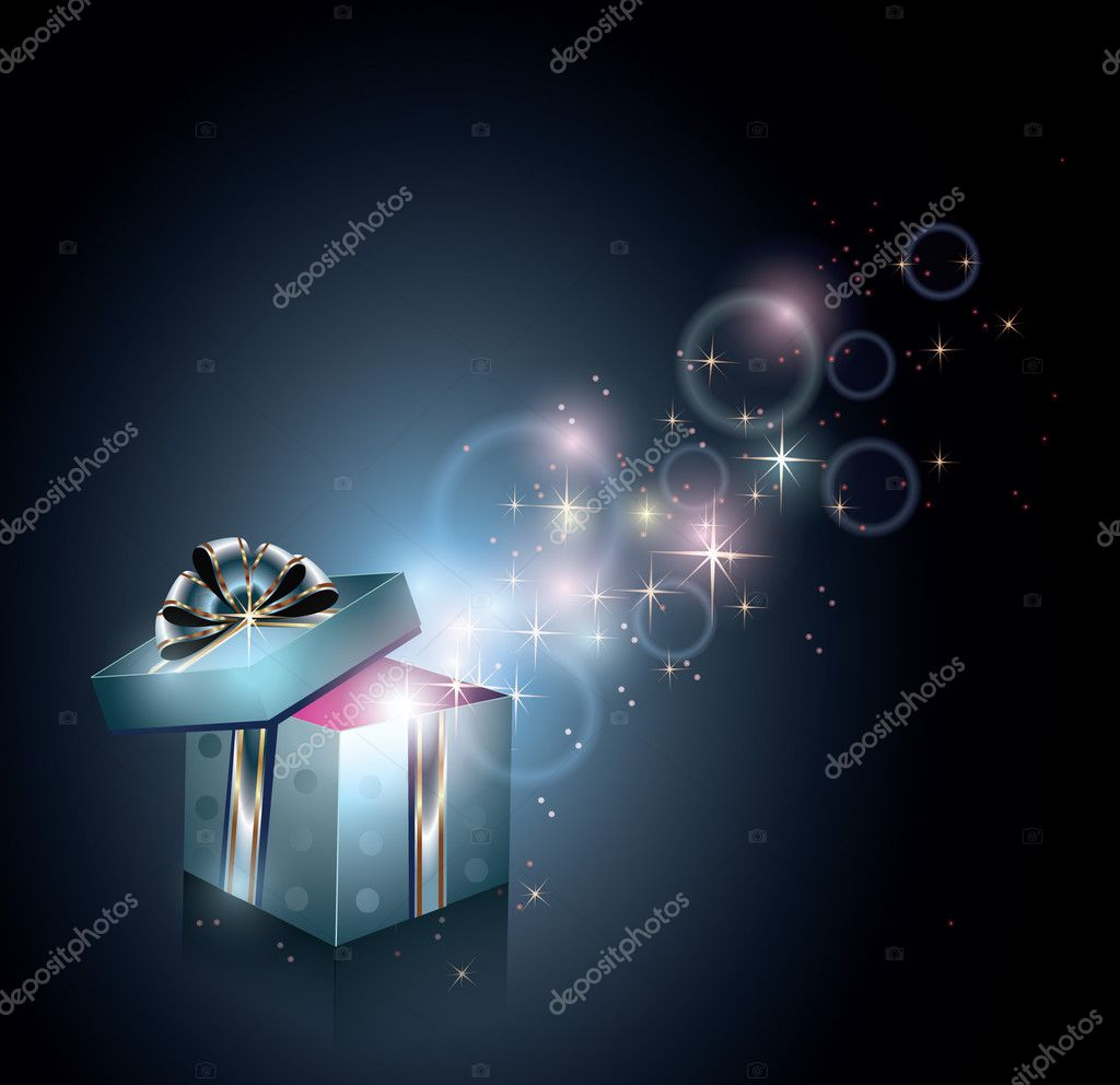 Gift box and magical light — Stock Vector #4554480