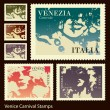 Venice Carnival stamps — Stock Vector