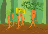 Army of genetically modified carrots — Stock Vector