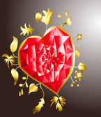 Golden heart with ruby — Stock Vector