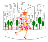 Running girl in dress with flowers — Stock Vector