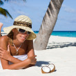 Lady on tropical beach — Stock Photo #4562566