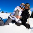 Skiers smile for the camera — Stock Photo