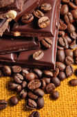 Chocolate with coffe beans — Stock Photo