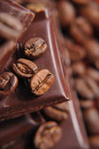 Chocolate with coffee beans — Stock Photo