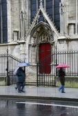 Notre Dame, red side door — Stock Photo