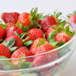 Strawberry in a glass bowl — Stock Photo