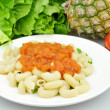 Pasta and fruits - 图库照片