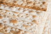 Thin sheets matzos jewish passover bread — Stock Photo