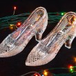 The crystal shoes with color lamps - Stock Photo