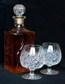 The decanter and crystal bocals — Stock Photo