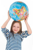 Child with globe — Stock Photo