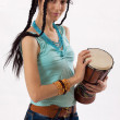 Girl with drum — Stock Photo