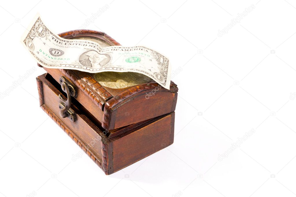 Isolated wooden treasure chest with dollar  on white background — Stock Photo #4561624