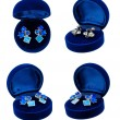 Earring in blue present box - Stock Photo