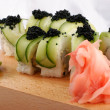 Sushi and black caviar — Stock Photo