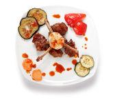 Bone lamb platter top view. Teppan-yaki dish — Stock Photo