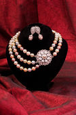 Pearl necklace and earring — 图库照片