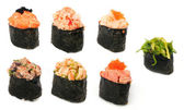 Different tipes of sushi, isolated on white — Stockfoto
